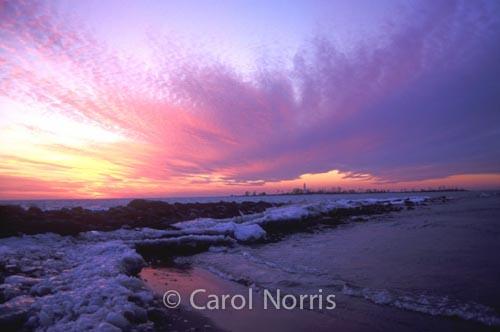 Canada-ontario-lake-huron-winter-ice-snow-purple-sunset-chantry-island.