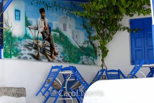 European-Greece-Mykonos-Greek-island-restaurant-blue-and-white-hookah-table-chairs