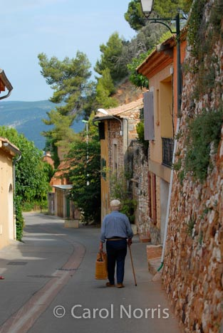 Provence-France-old-man-basket-walking