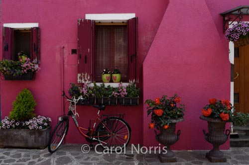 vibrant-colours-pink-bike-burano-italy